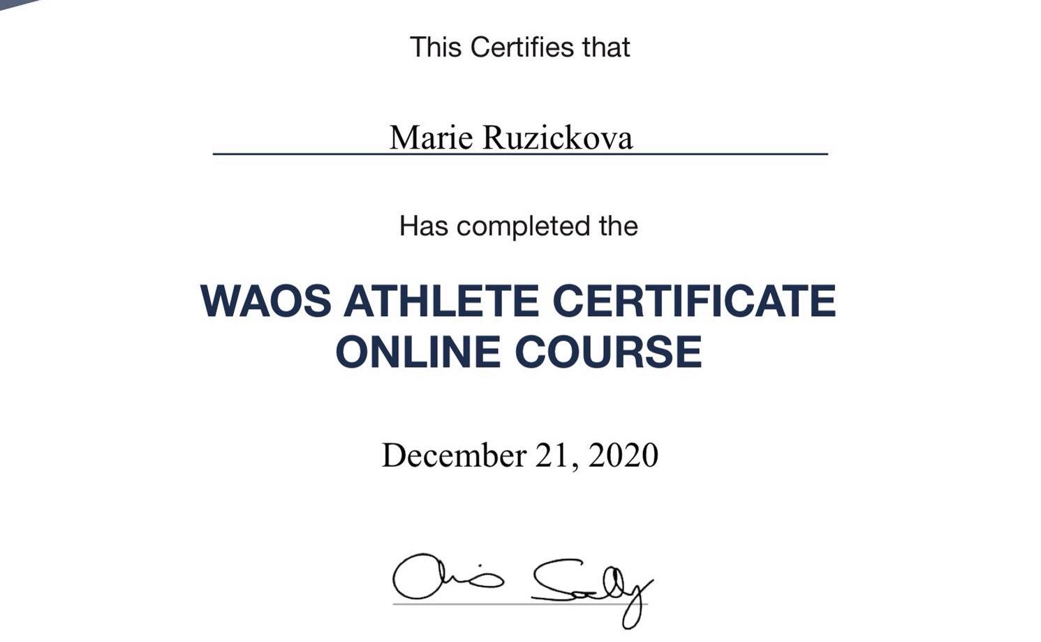 Marie získala certifikát WAoS